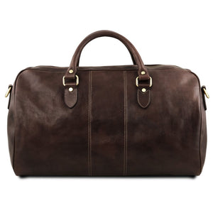 Rear View Of The Dark Brown Leather Duffle Bag Large