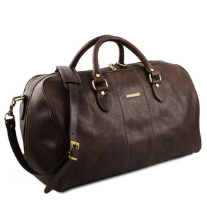 Angled View Of The Dark Brown Leather Duffle Bag Large