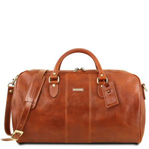 Front View Of The Honey Leather Duffle Bag Large