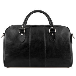 Rear View Of The Black Leather Travel Bag Small
