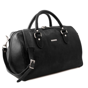 Angled View Of The Black Leather Travel Bag Small