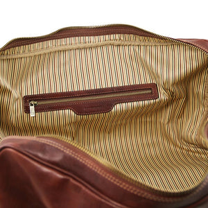 Internal Zip Pocket Second Individual Bag View Of the Brown Leather Travel Set
