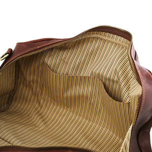 Internal Multi Functional Pockets View Of The Brown Leather Travel Bag Small
