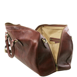Right Angled Zip Closure View Of The Brown Leather Travel Bag Small