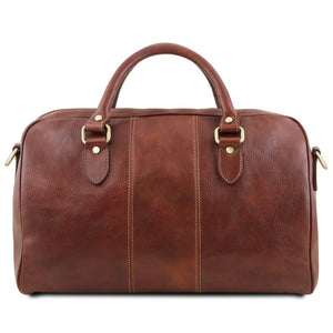 Rear View Of The Brown Leather Travel Bag Small