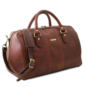 Angled View Of The Brown Leather Travel Bag Small