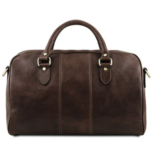 Rear Second Individual Bag View Of the Dark Brown Leather Travel Set