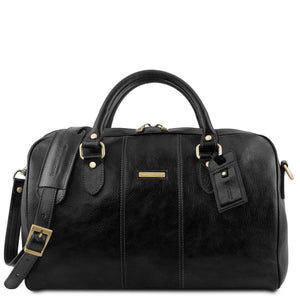Front View Of The Black Leather Travel Bag Small