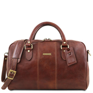 Front View Of The Brown Leather Travel Bag Small