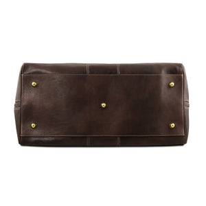 Underneath View Of The Dark Brown Leather Travel Bag Small
