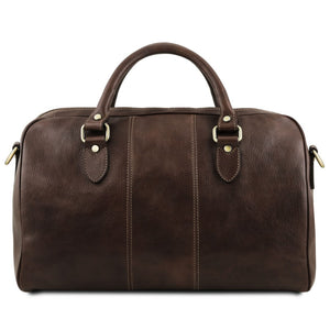 Rear View Of The Dark Brown Leather Travel Bag Small