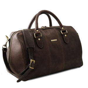 Angled View Of The Dark Brown Leather Travel Bag Small
