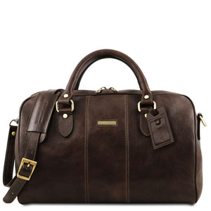 Front View Of The Dark Brown Leather Travel Bag Small