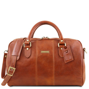 Front View Of The Honey Leather Travel Bag Small