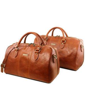 Front View Of the Honey Leather Travel Set