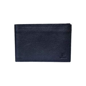 Front View Of The Black Lizandez Unisex Leather Passport Wallet