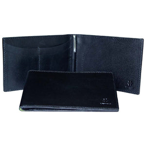 Internal And Front View With Pen Of The Black Lizandez Unisex Leather Passport Wallet