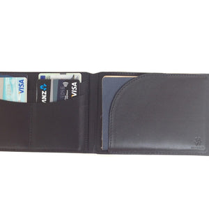 Open Wallet View Of The Black Lizandez Unisex Leather Passport Wallet