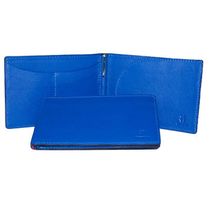 Internal And Front View With Pen Of The Blue Lizandez Unisex Leather Passport Wallet