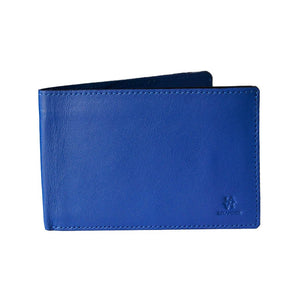The Front View Of The Blue Lizandez Unisex Leather Passport Wallet