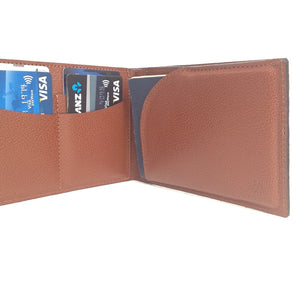 Another Angle View Of The Open Wallet Capabilities Of The Brown Lizandez Unisex Leather Passport Wallet
