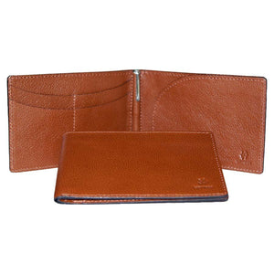 Internal And Front View With Pen Of The Brown Lizandez Unisex Leather Passport Wallet