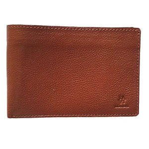 Exterior Folded Wallet Front View Of The Brown Lizandez Unisex Leather Passport Wallet