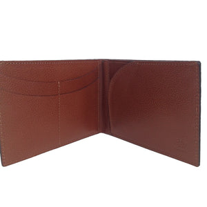Close Up Features View Of The Brown Lizandez Unisex Leather Passport Wallet