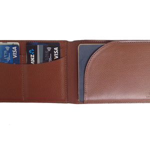 View Of The Open Wallet Capabilities Of The Brown Lizandez Unisex Leather Passport Wallet