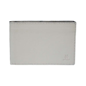 Front View Of The Cream Lizandez Unisex Leather Passport Wallet
