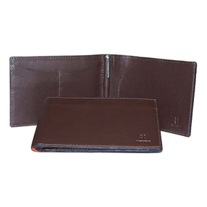 Internal And Front View With Pen Of The Dark Brown Lizandez Unisex Leather Passport Wallet