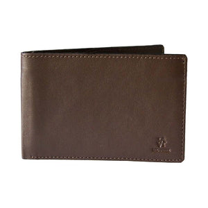 Front View Of The Dark Brown Lizandez Unisex Leather Passport Wallet
