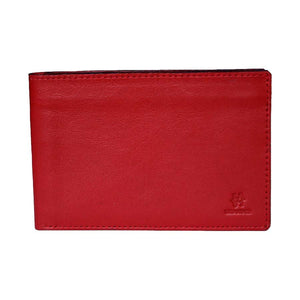Front View Of The Red Lizandez Unisex Leather Passport Wallet