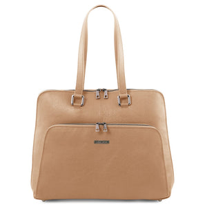 Front View Of The Champagne Women's Leather Business Bag