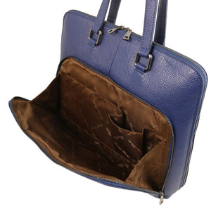 Front Compartment View Of The Dark Blue Women's Leather Business Bag