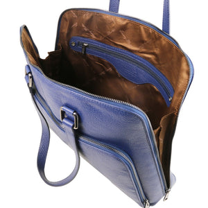 Internal Zip Pocket View Of The Dark Blue Women's Leather Business Bag