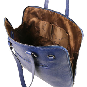 Internal Multi Functional Pockets View Of The Dark Blue Women's Leather Business Bag