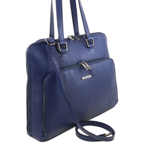 Angled View Of The Dark Blue Women's Leather Business Bag