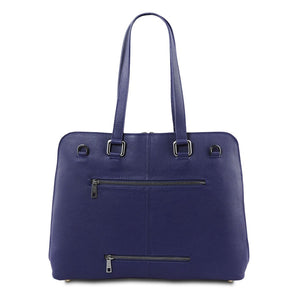 Rear View Of The Dark Blue Women's Leather Business Bag