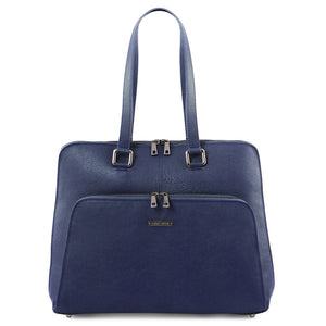 Front View Of The Dark Blue Women's Leather Business Bag