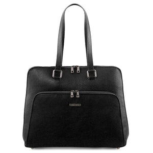 Front View Of The Black Women's Leather Business Bag