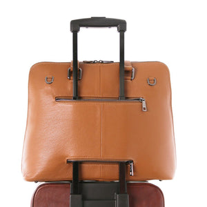 Rear Feature Option View Of The Cognac Women's Leather Business Bag