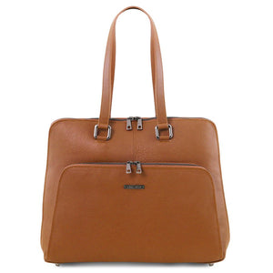 Front View Of The Cognac Women's Leather Business Bag
