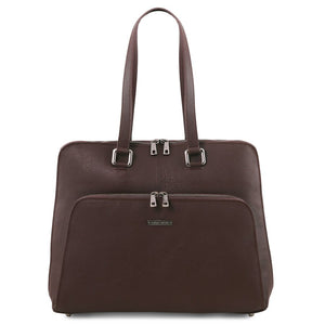 Front View Of The Dark Brown Women's Leather Business Bag