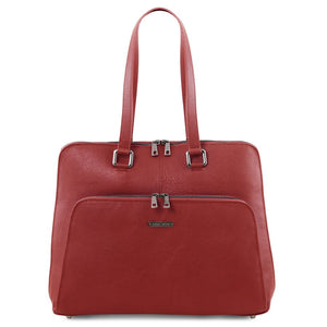 Front View Of The Red Women's Leather Business Bag