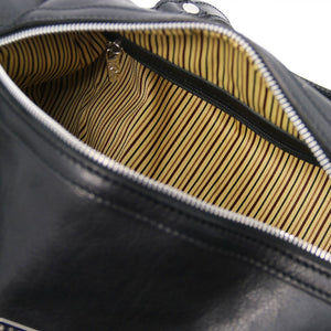 Internal Zip Pocket View Of The Black Leather Ladies Duffle Bag