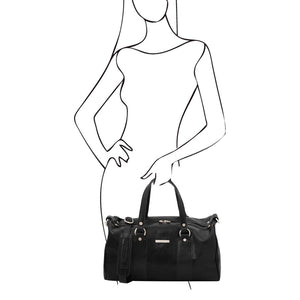 Women Posing With The Black Leather Ladies Duffle Bag