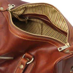 Internal Zip Pocket View Of The Brown Leather Ladies Duffle Bag