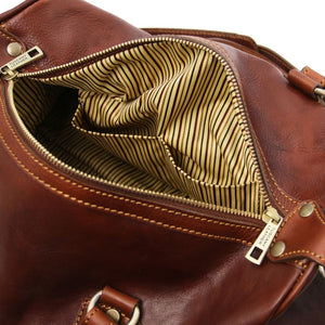 Internal Pocket View Of The Brown Leather Ladies Duffle Bag