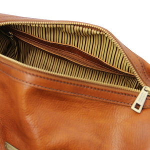 Internal Zip Pocket View Of The Honey Leather Ladies Duffle Bag